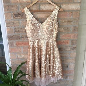 ModCloth Gold Bronze Sequin Dress Homecoming Small